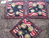 Black and Red Solar Rays  Kitchen Potholder Set