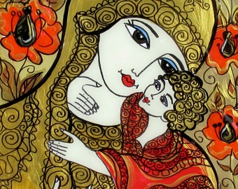 Sale, Original Ukrainian Style Glass Painting, Mother and Child, Icon