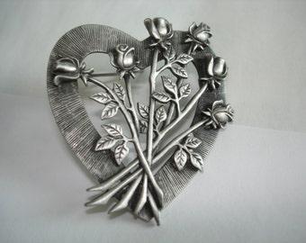 Signed JJ Heart Flower  Brooch Silver  Tone
