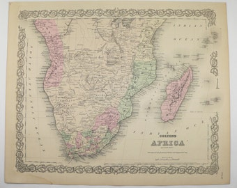 Old South Africa Map 1881 Colton Map, Cape Colony Mozambique Map, Madagascar, World Traveler Gift for Guy, Antique Africa Art Gift for Her