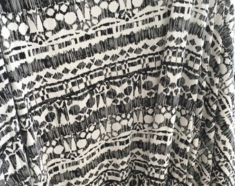 Black White Aztec Print Fabric, Geometric Print Fabric, Cotton Rayon Spandex, Striped Fabric, By the Yard Stretch Jersey, Destash