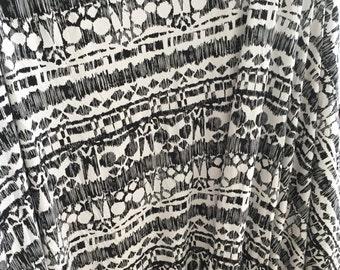 Black White Aztec Print Fabric, Geometric Print Fabric, Cotton Rayon Spandex, Striped Fabric, By the Yard Stretch Jersey, Destash