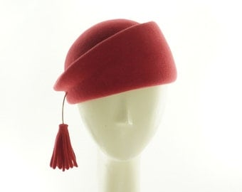 Dusty Red BERET Hat for Women / Vintage Style PILLBOX Hat / Handmade by Marcia Lacher Hats