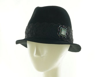 Black FEDORA for Women / Fur Felt Slouch Hat / CASUAL BLING / Handmade by Marcia Lacher Hats / Reserved for Katie