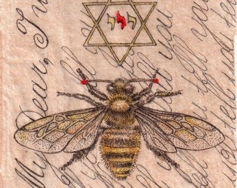 """Print of original Tea Bag Art. """"I Wanted To Tell You"""" ink drawing on tea bag with embroidery"""