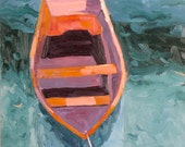 Reserved for Mila. Boat, original 30 x 40 inch (76 x 102 cm.) oil painting by Yvonne Wagner. Row boat. Orange boat. Boat painting.
