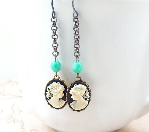 Cameo Earrings, Gunmetal Earrings, Silhouette Jewelry, Vintage Cameos, Turquoise Jewelry, Lady Cameo Jewelry