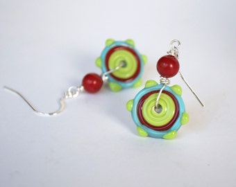 Funky Colorful Disc Earrings, Lampwork Glass Earrings, Modern Artisan Earrings, Bullseye Earrings, Glass Bead Earrings, Circle Earrings
