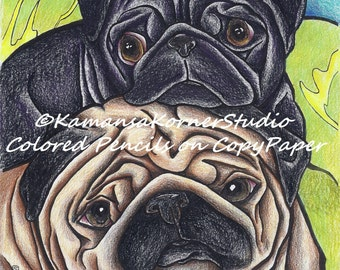 2 page packet pair of Pug Puppy Dog Fun Coloring Page file set including Positive quote