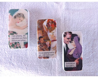 Domino Magnets Set of 3 Retro Romance Sassy Sayings