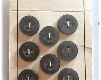8 Vintage Buttons, Scovill Dritz Buttons, Smoky Gray Buttons, Basic Buttons,  New on Cards 1960s Japan