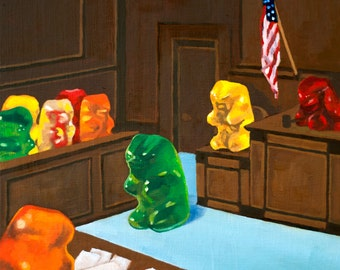 Gummy Trial - Giclee art print from original oil painting, realism, kitsch, law, humor, lawyer, court, judge, nostalgia, fun, silly, justice