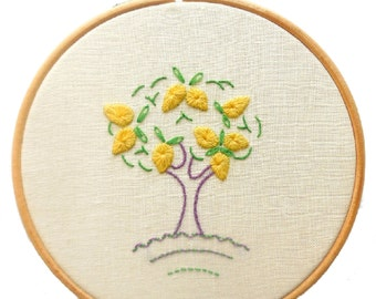 Lemon tree crewelwork embroidery kit