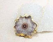 50% OFF Purple Amethyst Stalactite Necklace - Connector Pendant – 14K Gold Fill Chain