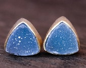 40 OFF SALE Gold Icy Blue Druzy Studs - Pyramid Stud Earrings - Winter Jewelry
