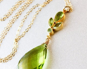 25% OFF Gold Green Peridot Necklace - Peridot Petals - 14K GF, August Peridot
