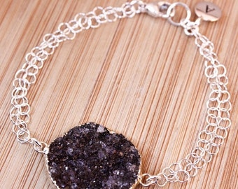 20% OFF Silver Black Druzy Bracelet - Initial Bracelet - Choose Your Stone