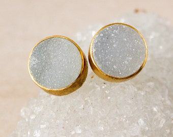 Gold Grey Druzy Studs - Round Studs - Choose Your Favourite
