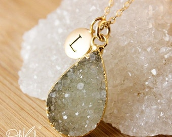 50 OFF SALE Olive Green Druzy Necklace - Choose Your Druzy - Geode Necklaces, Initial Charm