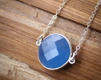 CLEARANCE SALE Silver Sky Blue Chalcedony Bezel Necklace - Cornflower Blue - Gemstone Necklace