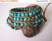SALE Apache Turquoise Beaded Leather Wrap Bracelet