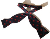 Vintage Paul Stuart Bow Tie Red & Blue Polka Dot Silk Bowtie