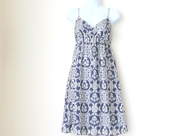 Strappy Dress - Silk - Sexy - Whisperweight - Navy Blue - Ivory - Medium - Floral - Empire Waist - Large Scale - Recycled - Eco Friendly