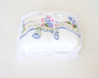 Ring Bearer - Pillow - White - Lace - Blue Floral - Something Blue - Heirloom - Romantic - 50s Hankie Details - Bridal - Bride - Wedding