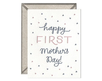 Happy First Mother's Day letterpress card - single