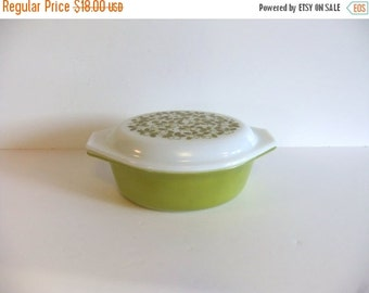 ON SALE Vintage Pyrex Casserole Dish with Cover Olive Green