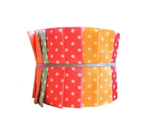 """Quilt Jelly Roll Polka Dot 2 1/2"""" 20 Strips Pastel Color Mix Dot"""