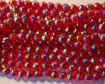 Vintage Faceted Glass Beads 6 Czech Ruby Red Ab Aurora Borealis 10mm