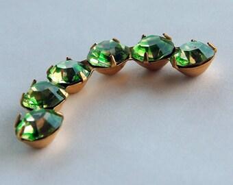 Vintage Curved Brass Rhinestone Jewelry Piece Peridot Green or Dark Orange Givre