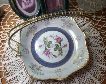Vintage Shabby Chic Porcelain Hand Painted Candy Trinket Dish with Roses