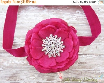 Raspberry / Hot Pink Flower Headband, Lush Silk Flower w/ Rhinestone Center Headband or Hair Clip, Baby Toddler Child Girls Headband