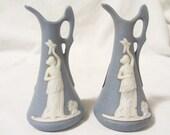 Lady Liberty Manhatten Anisette Cordial Set of Bottles, Blue Jasper Like Bottles, Anisette Cordial Bottles, Anisette Cordial Figurine Bottle