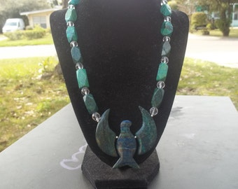 Osiris- Chrysocolla eagle necklace