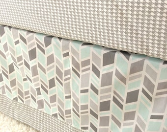 Ritzy Baby Made to Order Mint and Grey Arrows and Houndstooth 3 or 4-Sided Tailored Crib Skirt