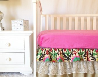 Santa Maria Fancy Floral Damask Crib Bedding, Lace and Burlap Crib Set for Girls, Baby Girl Crib Bedding, Top Selling Baby Bedding