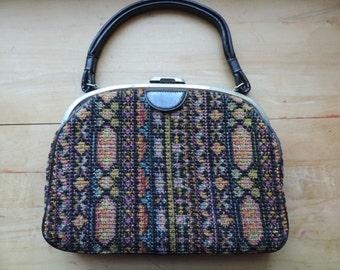 1960's tapestry purse vintage carpetbag ethnic textile handbag