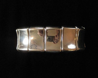 Sterling Silver Square Bead Elastic Expansion Bracelet