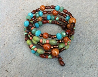Rustic Wrap Bracelet, Bohemian Wrap Bracelet, Turquoise and Brown, Earthy Wrap, Layer bracelet