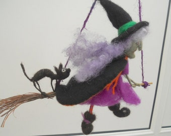 halloween witch, witch on a broomstick, flying witch, black cat and spider, needle felted witch, purple and orange, halloween mobile