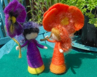 Waldorf Flower Fairy, California Poppy Fairy, Play Mat, Play Scape, Hand Felted Fairy, Needle Felted Fairy, Nature Table, Orange and Yellow
