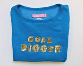 SALE - GOAL DIGGER emoji girl boss sequined cobalt blue short sleeve crew neck comf sweatshirt