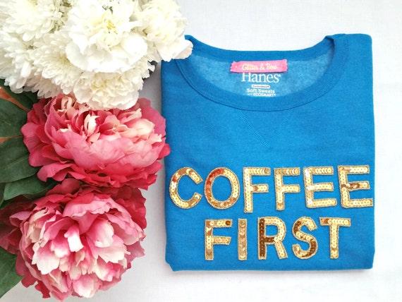 COFFEE FIRST sequin sweatshirt, crew neck, short sleeve, black, gray, blue