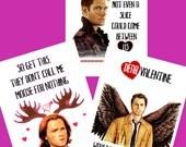 Supernatural Valentine PostCards Sam Dean Winchester Castiel