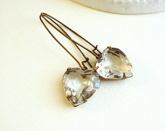 Heart Earrings Crystal Heart Earrings Vintage Jewels Dangle Earrings Brass Jewelry Long Earrings Costume Jewelry Wedding Jewelry