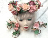 Woodland Fairy Fantasy ,Wedding,Flower Head crown Garland,Hand made in Canada