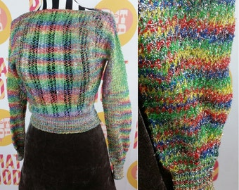 Sparkle Rainbow Club Kid 90s Knit Sweater Top! Super Pretty and Cute!!